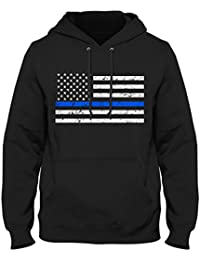 Tattered and Torn Thin Blue Line American Flag Honoring the Fallen Officers HOODIE, Black, X-Large