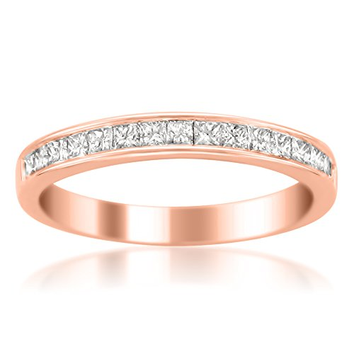 (14k Rose Gold Princess-cut Diamond 16-stone Bridal Wedding Band Ring (1/2 cttw, H-I, SI2-I1), Size 6)
