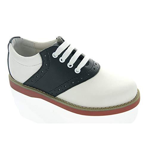 Academie Gear Women's Oxford Saddle Shoes White/Black Medium 7.5