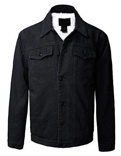 Boy's Junior's Premium Button Up Denim Fur Lined Trucker Sherpa Jean Jacket (10, (Boys Trucker Jacket)