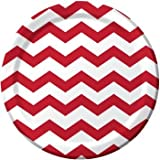 Red and White Chevron Stripe 9 inch Lunch/Dinner Plates (8 ct) by Creative Converting Reviews