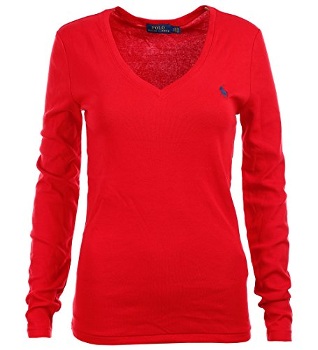 Polo Ralph Lauren Womens Perfect Long Sleeve V Neck T-Shirt (X-Large, Red)