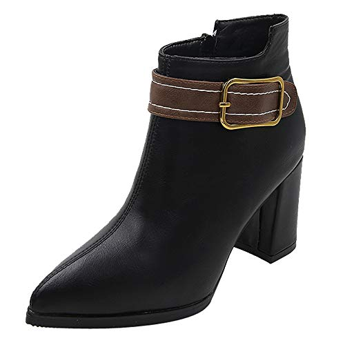 (Theshy Women High Heel Shoes Martain Boot Leather Solid Color Round Toe Zipper Shoes Winter Boots for Women)