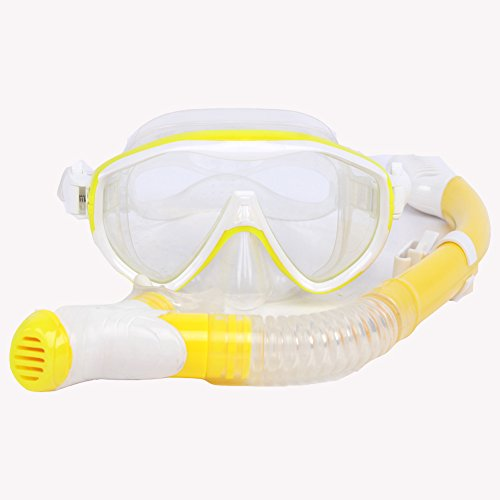 Whale Aquatics Scuba Snorkel Diving Mask Package Set for Adults (yello)
