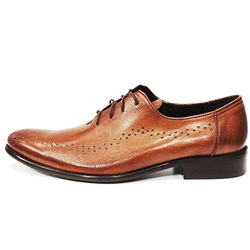 PeppeShoes Modello Porto - Handgemachtes Italienisch Leder Herren Braun Oxfords Abendschuhe Schnürhalbschuhe - Rindsleder Handgemalte Leder - Schnüren