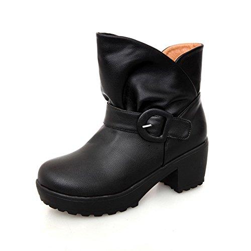 Black with Chunky Heels B M US Plush 5 AmoonyFashion Toe Heels Kitten Round PU Boots Short Solid Womens Closed wqwgFAP6