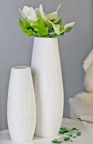 amazon de 45 cm große weiße keramikvase bodenvase blumenvase