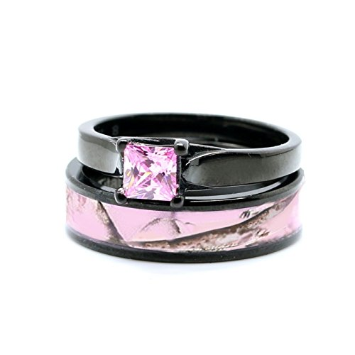 Pink Women`s Black Titanium Camo and Stainless Steel Princess Engagement Wedding Rings Set (Size Women 8) ()