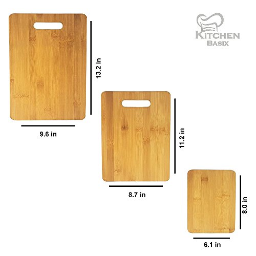 Bamboo Cutting Board 3 Piece Set, Made From Premium 100% Organic And Safe Antibacterial Wood, Newest Non-Stick Design, FDA Approved And BPA Free Kitchen Chopper Reversible Stand. Kitchen Basix by Kitchen Basix (Image #1)'