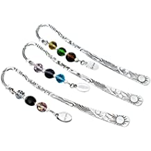 "Housweety Silver Tone Bookmarks W/Crystal ""Believe"" Dangle Bead 123mm(4 6/8Inch) 3PCs"