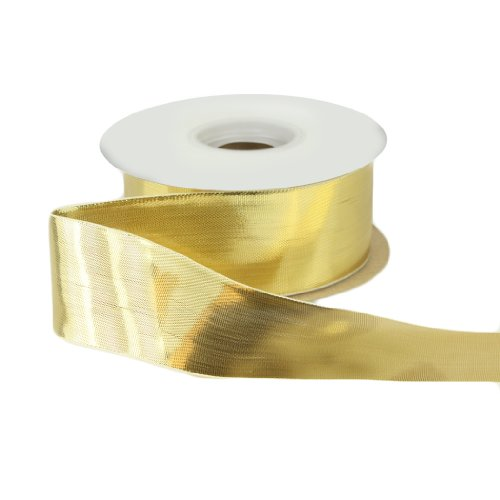 Brooch Gold Ribbon (Offray Woven Metallic Craft Ribbon, 1-1/2-Inch Wide by 50-Yard Spool, Gold)