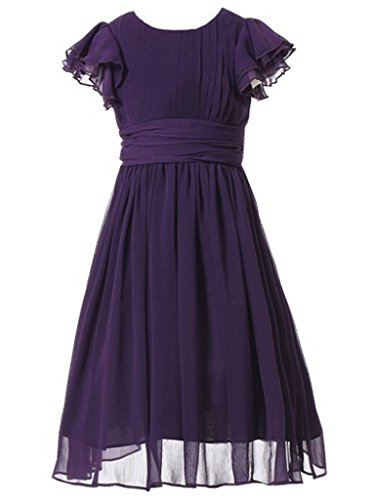 Happy Rose Flower Girl's Dress Prom Party Dresses Bridesmaid Dress Purple 6 by Happy Rose