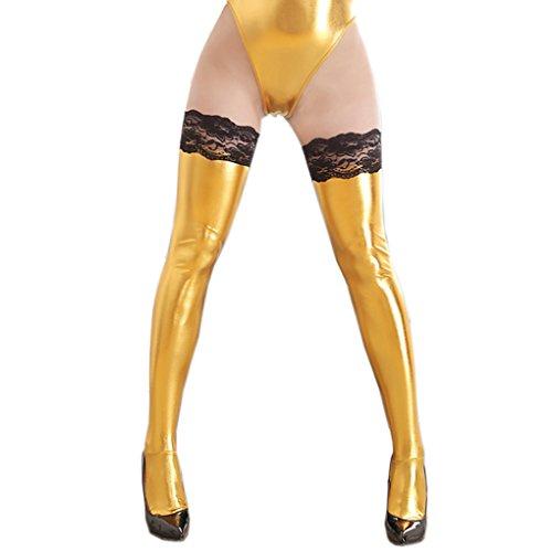 d37a73c42 Romi Women s Lingerie Ultra-Wide Black Lycra Wet Look Anti-skid Lace Thigh  Length Stockings Sexy Socks - Buy Online in Oman.