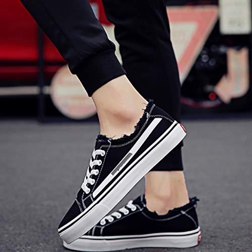uomo uomo tela traspirante tendenza di bordo Size selvatici WangKuanHome da scarpe di 39 Bianca Scarpe casual Color scarpe estate tela da Black scarpe pqTxzw