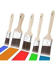 Lakkwast voor lak, 5 stuks, platte kwastenset met houten handvat, strijkkwast, lazuurkwast, set voor lazuur, lakkwast, penseel voor hout, schilderen, penselen, lak voor doe-het-zelf schilderen