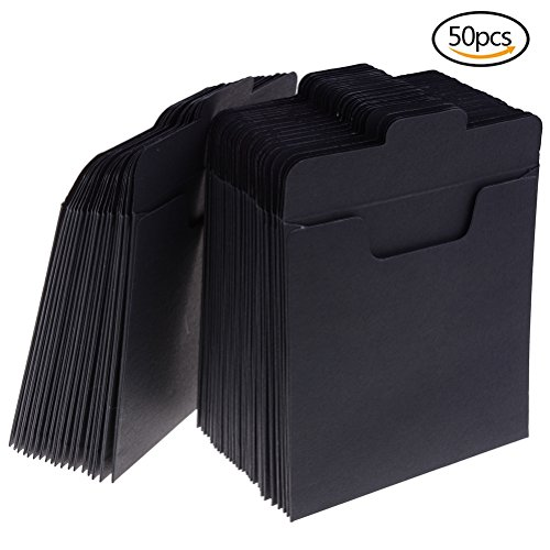 Paper Cd Packaging - 50 Pack CD Sleeves Kraft Paper DVD Envelopes, Black Blank CD Paper Cardboard, CD Kraft Paper Storage Holder Covers Packaging Sleeves - 4.9 x 4.9 Inch