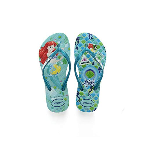 Havaianas Baby Kids Slim Princess, Ice Blue, 11/12 M US Toddler ()