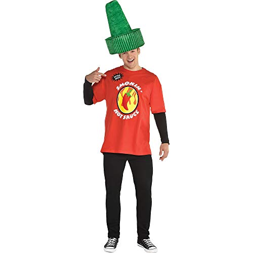 Sriracha Bottle Halloween Costume (amscan Hot Sauce Halloween Costume Accessory Kit for Adults, 2)