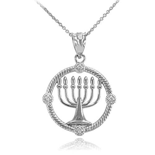 14K White Gold Jewish Menorah Diamond Pendant Necklace (22)