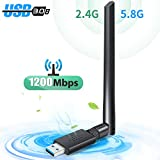 Carantee Wireless USB 3.0 WiFi Adapter 1200Mbps (Cooling Hole Design), WiFi Dongle Dual Band 2.4GHz/5GHz with 5dBi Antenna for Desktop Laptop PC Support WinXP/7/8/10/vista, Mac10.4-10.14, Linux