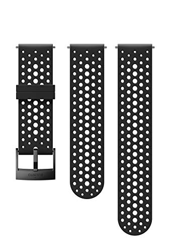 Suunto SS050225000 Original Watch Strap for All Suunto Spartan Sport WRH and Suunto 9 Watches, Silicone, Length: 22.9 cm, Width: 24 mm, Includes Pins for Attaching the Strap, Black/Black