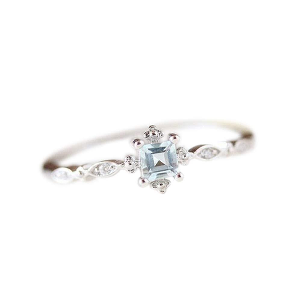 Women Vintage Beautiful White Diamond Silver Engagement Wedding Band Ring Valentine's Day Gifts for Girlfriend Boyfriend (US Size)