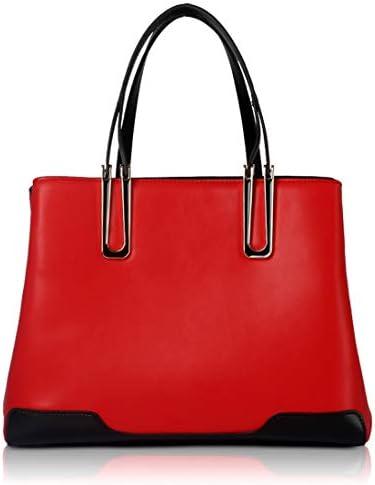 YKAIEET 本革女性トップハンドルサッチェルハンドバッグトートショルダーバッグ財布クロスボディバッグ旅行バックパックビジネスバッグ用女性ラップトップバッグ (色 : レッド)