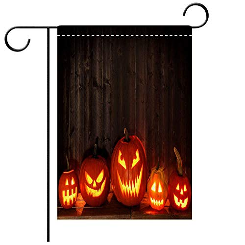 BEICICI Double Sided Premium Garden Flag Many Halloween Jack o Lanterns at Night Against Dark Wood Best for Party Yard and Home Outdoor Decor