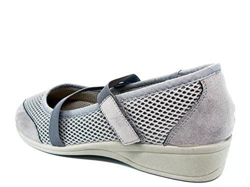 para de en de DOCTOR tejido cierre velcro 712 marca la color calle 60 gris con gris mujer salon confort Zapatilla CUTILLAS waqpEq