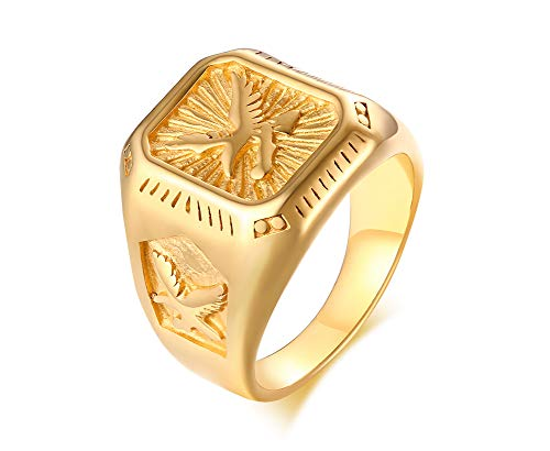 Eagle Plated Gold - MPRAINBOW Stainless Steel American Eagle Symbol Gold Plated Signet Ring Seal Ring for Men,Dad Father Husband Men Gift
