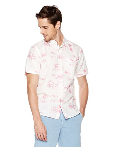 (Isle Bay Linens Men's Slim Fit Short Sleeve Toile Vintage Printed Linen Cotton Casual Hawaiian Shirt XXL Pink Rose)