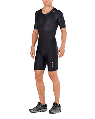 - 2XU Mens PerformFullZip Sleeved Trisuit, Black/Black, Large