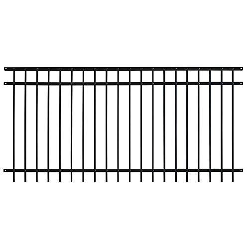 Fence Panel 3-Rail Pro Series Adjustable Galvanized Steel Fencing in Black