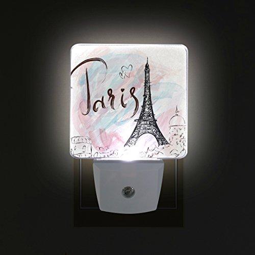 GIOVANIOR Paris Eiffel Tower Plug in Dusk to Dawn Light Sensor LED Night Light Wall Light for Bedroom, Bathroom, Hallway, Stairs, Energy Efficient Dusk Eiffel Tower