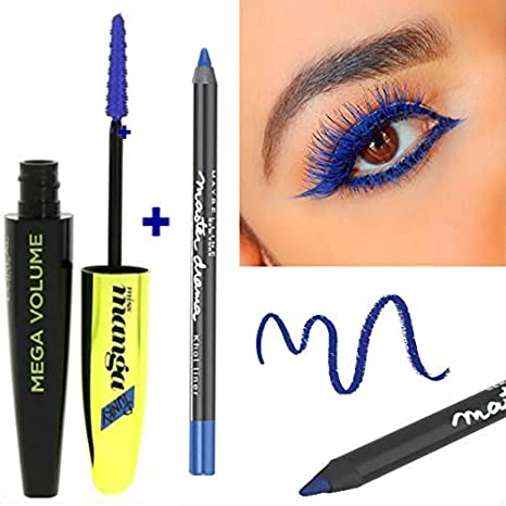 3b5ac4dedc9 Kit L'Oréal Paris Mega Volume Miss Manga Mascara Bleu Indigo + 1 Crayon  Gemey
