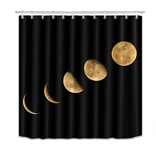 LB Moon Phase Shower Curtain Set,Nature Lunar Eclipse Solar System Black Bathroom Curtain Decor Waterproof Polyester Fabric Bath Curtain with Hooks,72x72 inch