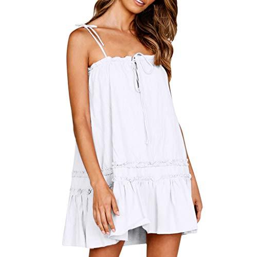 - ⚡HebeTop⚡ Mini Sundresses for Women Casual, Loose Sundresses, Sleeveless Sling Summer Dress White