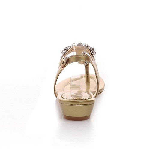AllhqFashion Mujeres Material Suave Hebilla Puntera Dividida Mini tacón Tachonado Sandalia Gold