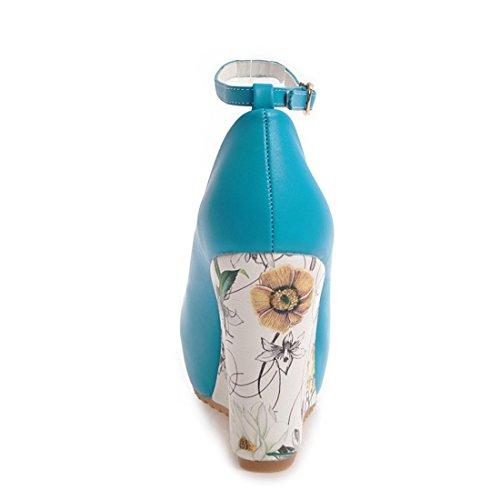 YE Damen Keilabsatz Pumps Knöchelriemchen High Heels Plateau mit Blumen Absatz Elegant Schuhe Blau