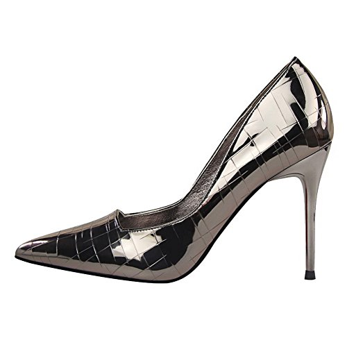 Pull Shoes PU Pointed Odomolor Toe Women's On Gray High Pumps Solid AmagooTer Heels xagPAYq