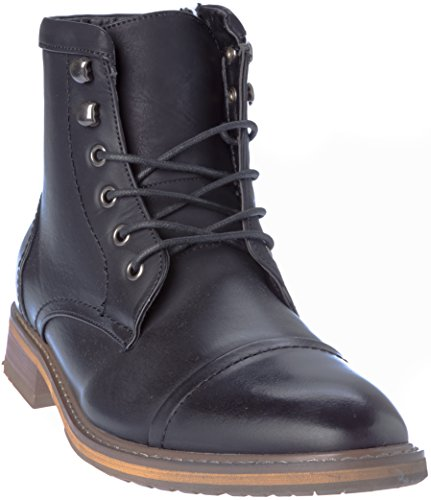 geneva03 Mens Lace-Up Oxford Style Combat Boots Black Dress-Shoes Size 10.5 - Granny Combat Boots