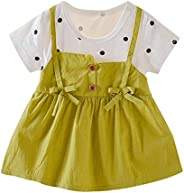 Voberry Baby Girl Clothes, Toddler Kid Baby Girls Bow Polka Dot Print Princess Overalls Dress Outfits Clothes