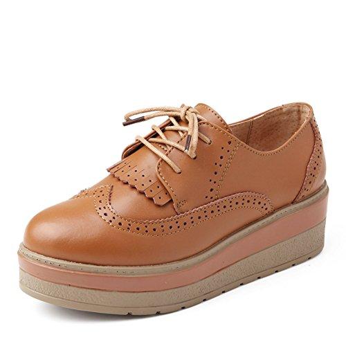 Chaussures Semelle womens Printemps forme cuir Vent Épaisse Chaussures Plate Véritable chaussures A Shoes Angleterre Femme Glands Casual q5wBSw