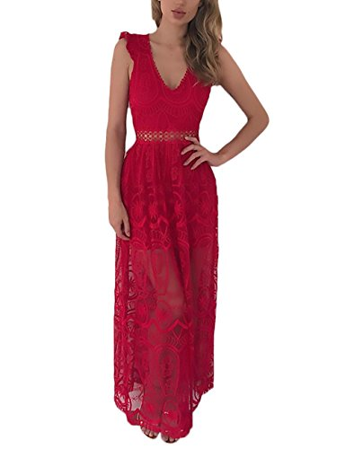 Sommerkleider Damen Lang Elegant Spitze Ärmellos V Ausschnitt Rückenfrei Festlich Bekleidung Dresses Spitzenkleid Mode Transparent Lange Kleider Strandkleid Rot sK8iXmPid