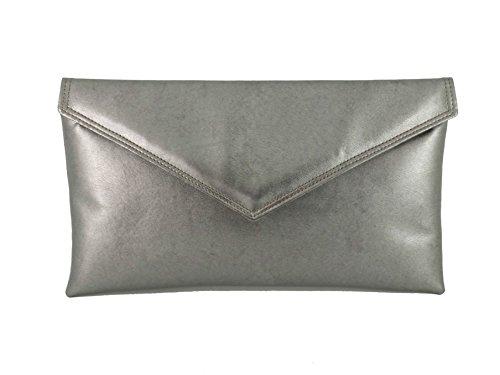 Bolsa bolso de mano compartimento envolvente bolsa de hombro metálicos Faux Piel Gunmetal Pewter
