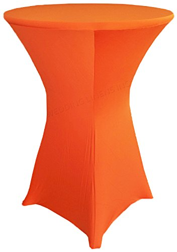 (Wedding Linens Inc. Wholesale (200 GSM) 36 in x 42 in Cocktail Highboy Spandex Stretch Fitted Round Table Cover Tablecloths Orange)