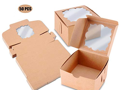 NPLUX 50 Pack Brown Bakery Boxes with Window 4x4x2.5 inches Party Favor Boxes for Gift Giving