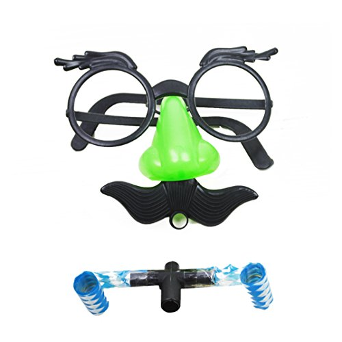 Child Big Nose Eye Glasses Eyebrows Whistle and Mustache Mask Props Halloween Party 1 Pack Plastic Novelty Fun Toys 5' inch, Sponsored,Color May Vary only for a Good -