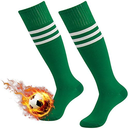 - Soccer Socks Green,3street Unisex Youth Thick Cushion Knee High Sport Athletic Soccer Team Tube Socks Green 2-Pairs,7-13