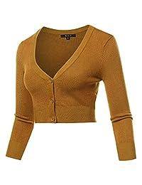 A2Y Mujer Sólido Cropped Bolero 3 4 Manga Botón Abajo V-Cuello Cardigan Suéter